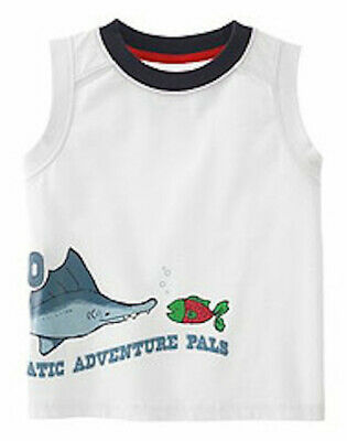 Nwt Gymboree Salt Washed White Aquatic Adventure Pal Fish Shirt Tank Top Size 4T