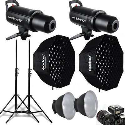 2Pcs Godox SK400II 400W Studio Flash Strobe + Softbox + X1T Trigger + Stand Kit
