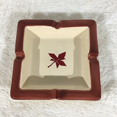 Vintage Von Pok & Chang Red Maple Leaf Square Ashtray