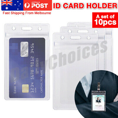 10pcs QUALITY Vertical Clear Card ID Holder Sleeve Office Name Tag lanyard