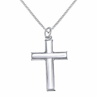 """Christmas Special 14K Gold Over Men's Cross Pendant Necklace w/18"""" Cha $159.96"""