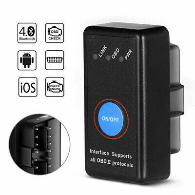 ELM327 Bluetooth Car OBDII OBD2 Scan Tool Scanner Code Reader For Android iOS