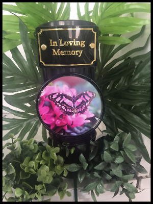 In Loving Memory Black Metal Grave Pot With Spike, Pink Butterfly