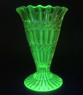Victorian Vaseline Uranium Yellow Glass Vase c1870s Possibly Henry Greener?