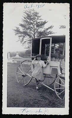 Old Antique Vintage Photograph Little Girl Standing By Coach Carriage Roanoke Va