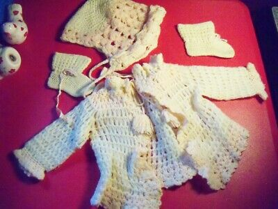 Vintage Handmade Crocheted Baby Infant Doll Clothes Sweaters Bonnet booties SET