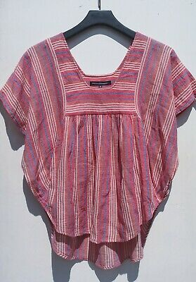 French Connection 70s style Red pink stripe cheesecloth Kaftan batwing top 10