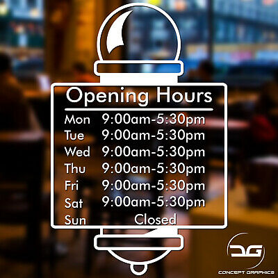 Barber Shop Custom Personalised Opening Times Hours Business Window Wall Sign