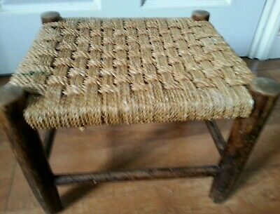 Vintage Retro Woven String Ropework Wooden Foot Stool rustic