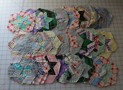 5049 36 antique 1930-40's Hexagon Star quilt blocks, huge variety of prints