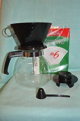 NEW MELITTA Cone Filter Coffee Coffemaker 10 CUP Glass Carafe Manual POUR OVER