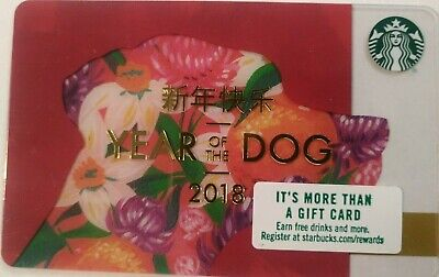 "STARBUCKS GIFT CARD ~2018 Chinese, ""Year Of The Dog""  ~ MINT                 (M)"