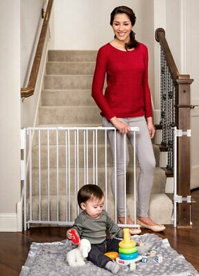 Regalo Extra Tall and Wide 2-in-1 Stairway and Hallway Wall Mounted Baby Gate, B