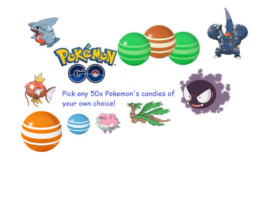 Pokemon Go Any 50 Pokemon Candy For Only $3.50! *FAST SERVICE* Magikarp Gible