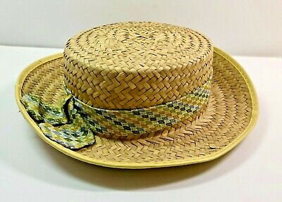 Vintage CHILD'S STRAW HAT with Ribbon