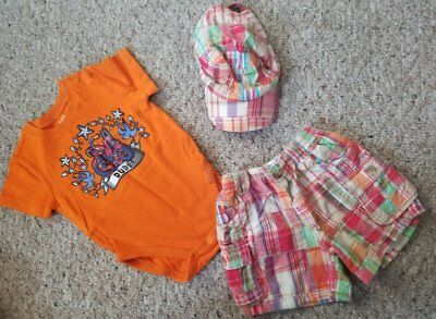 THE CHILDREN'S PLACE Orange Plaid DUDE Short Set Boys Size 6-9 months