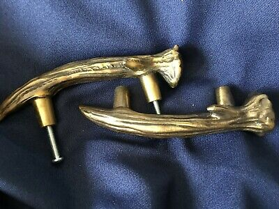 """SIERRA LIFESTYLES Antique Brass Cabinet (1) Pull Handle ANTLER Right Facing 3"""""""