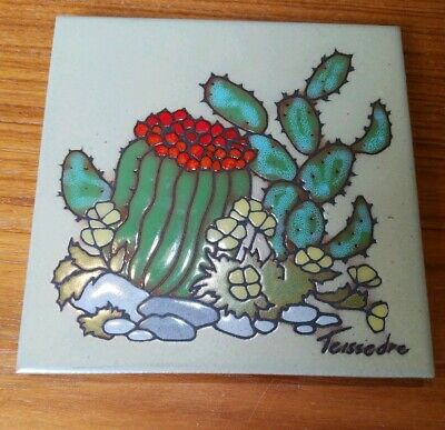 "Cleo Teissedre Southwest Hand Painted 6"" Ceramic Tile Barrel Cactus Still Life"