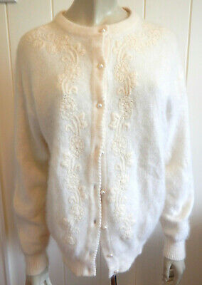Katies vintage angora blend cream fluffy embroidered cardigan size 16 - 18