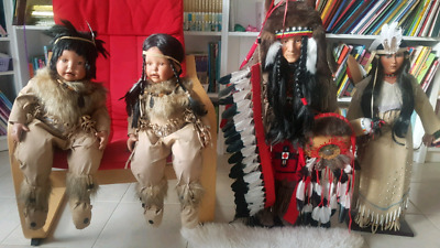 Native American Indian Red Cloud  Porcelain Doll Family of 5