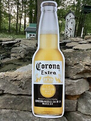 CORONA EXTRA Mexican Mexico BEER BOTTLE Shaped Embossed Metal Bar Lounge Sign