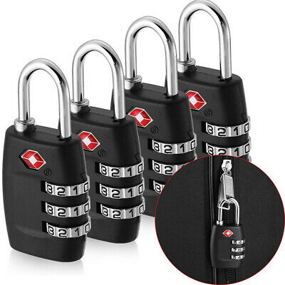 4x TSA Approved Luggage Lock Travel 3 Digit Combination Suitcase Padlock Reset N