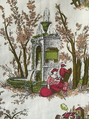 DIVINE PAIR OF VINTAGE FRENCH c1950's PRINTED COTTON TOILE DE JOUY PANEL CURTAIN