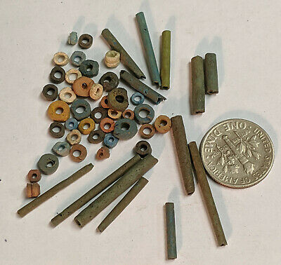 More than Fifty 2500 Year old Ancient Egyptian Faience Mummy Beads (K9297)