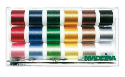 Madeira 8040 | Assorted Viscose Rayon 40 Machine Embroidery Thread | 200m x 18