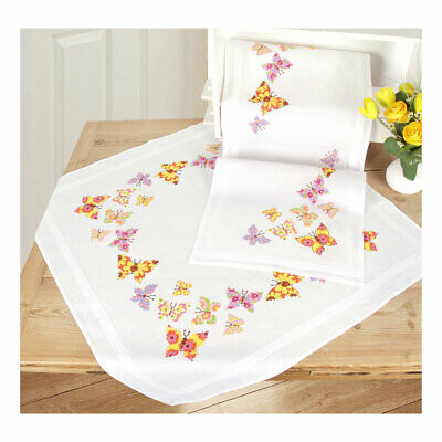 Vervaco Embroidery Kit Table Runner   Butterfly Flapping on White   40 x 100cm
