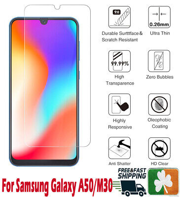 Premium Quality Tempered Glass Screen Protector Film For Samsung Galaxy A50/M30
