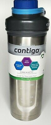Contigo Shake and Go Fit 24oz Thermalock Shaker Bottle Stainless Steel/Blue NEW