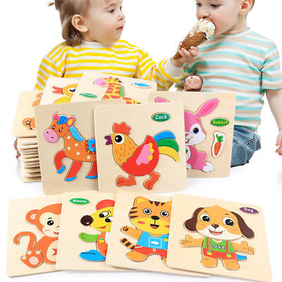 Wooden Puzzle Educational Developmental Baby Kids Training Toy GIFT MANY TAPES