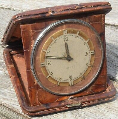 VINTAGE 1920s 8 DAY DATE CROCODILE SAFARI TRAVEL CLOCK ...WORKING