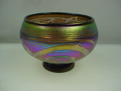 Art Glass Irridecent Bowl Carnival Glass Candy Dish  Signed