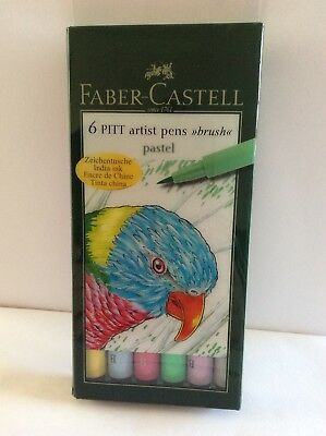 Faber Castell Artist Pitt Brush Pens PASTEL Wallet Set of 6 Pens.