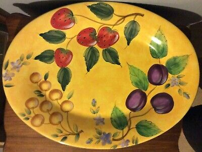 "Claire Murray Gibson Elite Bella Vita 18.5"" Oval Serving Platter Fruits Yellow"