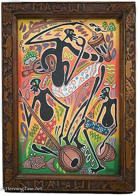 Beautiful Vintage African Malawi Tribal Oil Painting Signed & Framed, NICE!