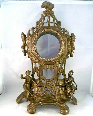 Adorable antique French gilded bronze french mantle clock frame. Romantic 14""