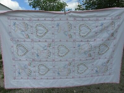 Embroidered Crib Quilt Sunbonnet Sue hand stitched Hearts watering can 59 x 39