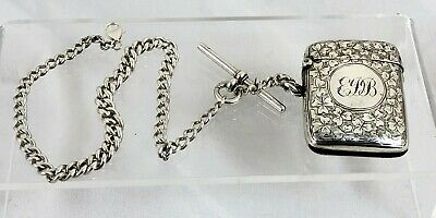 Sterling Silver Chester Hallmarked Vesta Case And Silver Albert Chain
