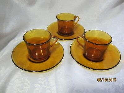 Vintage Duralex from France Amber set of 3 Glass Cups & Saucers for sale!!!