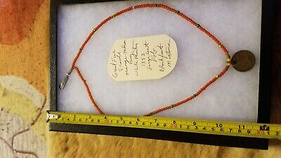 Native American Necklace of fur trade beads in Riker Case