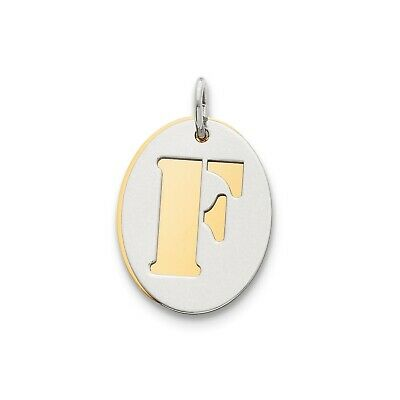 Sterling Silver GP Initial F Double Plate Oval Charm (0.7in x 0.6in)