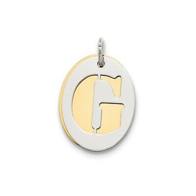 Sterling Silver GP Initial G Double Plate Oval Charm (0.7in x 0.6in)