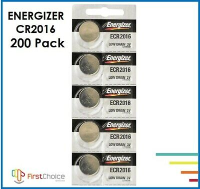 200 PCs Energizer CR2016 Lithium Coin Cell 3V Fresh Date Code Battery Exp.2028