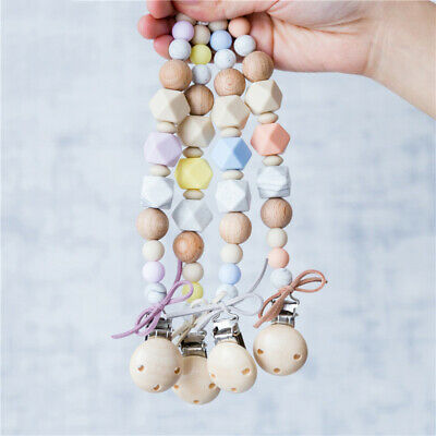 Silicone Teether Baby Paicifer Clip Dummy Chain Nipple Teething Wood Baby Holder