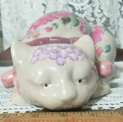 Vintage Chinese Porcelain Glazed Macau Cat Floral Design Hand Painted