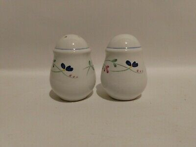 FREE SHIP Rare ALLEGRO Stoneware Green Blue Pink Flower Salt Pepper SHAKERS Pr