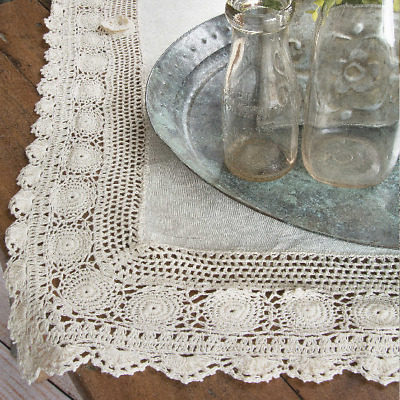Heritage Lace Blue Ribbon Crochet Topper 42x42 Cream Table Cloth Cover New